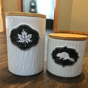 Two kitchen canisters